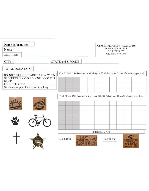 2019 Memorial Brick order form